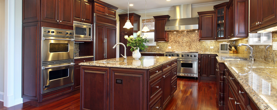 Kitchen with cherry wood kitchen cabinets