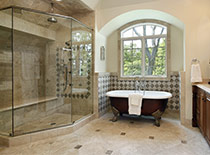 Math bath with large glass shower