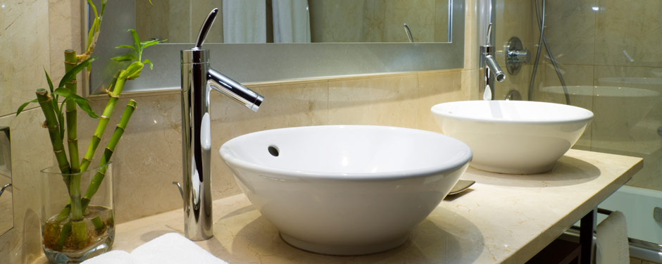Bathroom sinks with bamboo