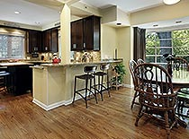 open concept kitchen with hardwood kitchen
