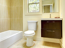 small yellow beach bathroom