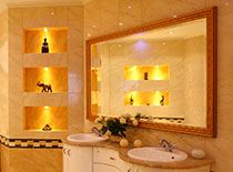 modern bathroom with lighted shelves