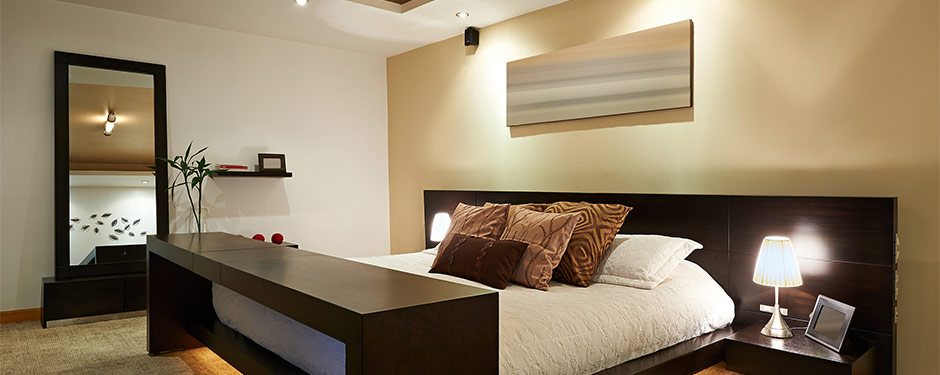 modern bedroom with expert lighting