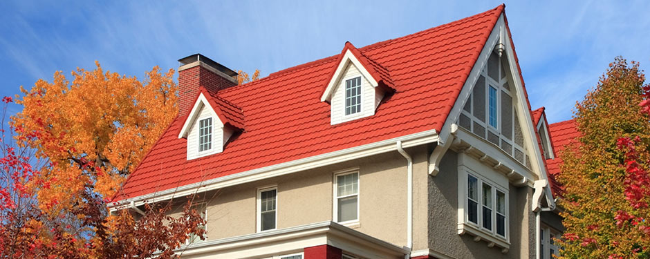 red tile roof in fall