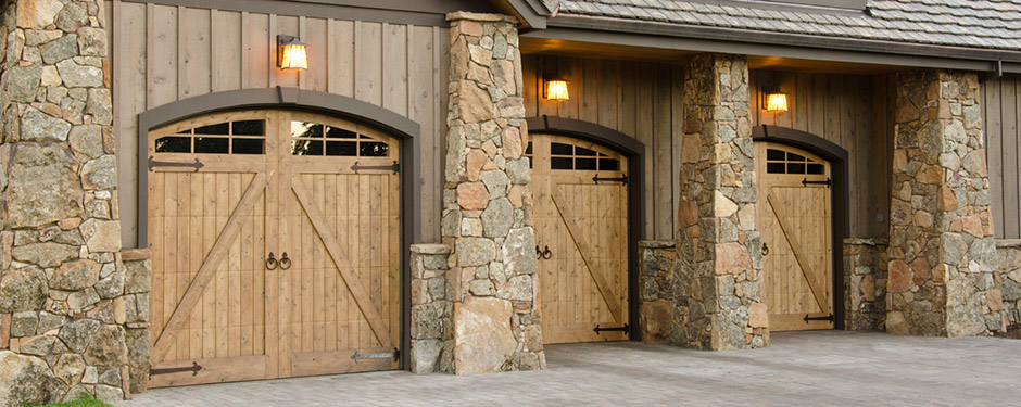 Wood and stone garage doors