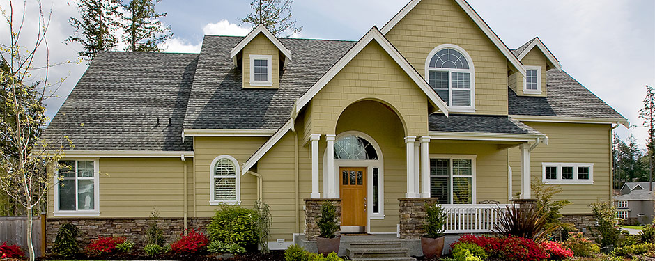 Modern home with cottage-style siding