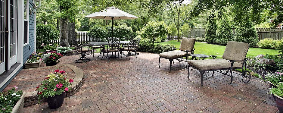 Backyard With Concrete Pavers