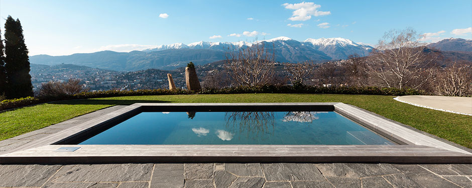 calm reflection pool with mountain view