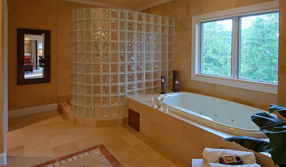 bathroom with cube glass shower