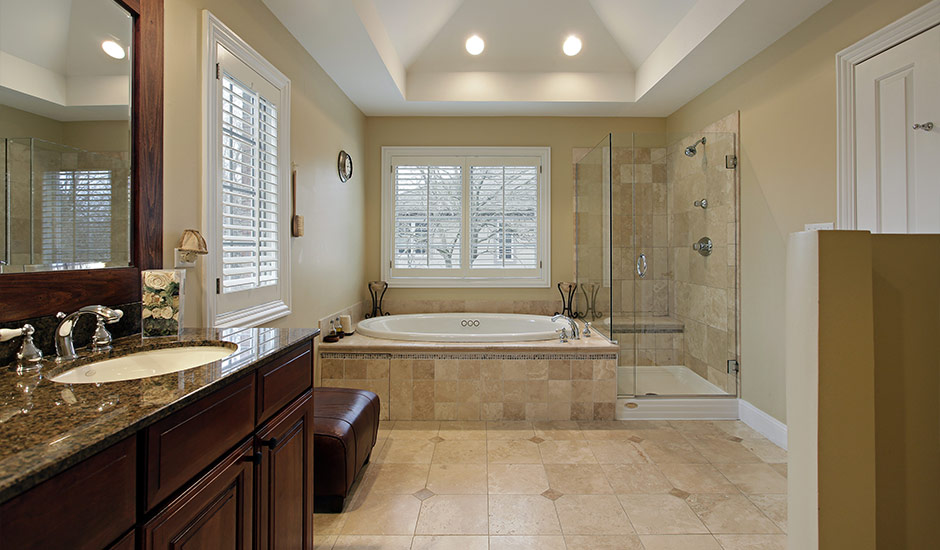 Luxury Marble Bathroom With Custom Lighting