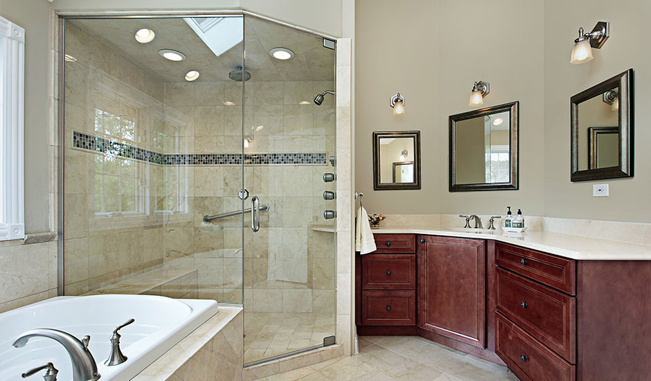 luxury bathroom with walk-in shower