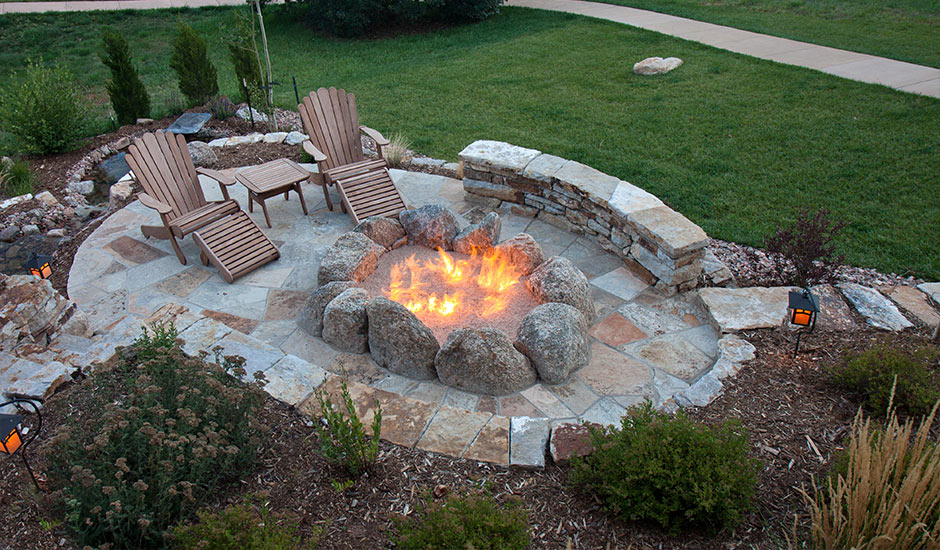 backyard patio with bonfire pit