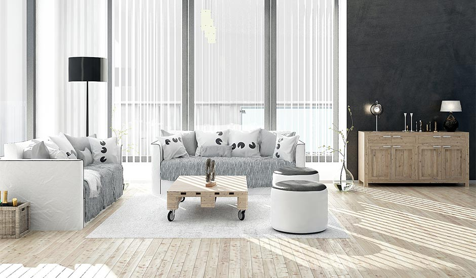 black and white colored living room