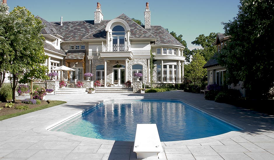 castle mansion with pool