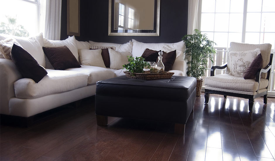 dark living room with hardwood floors