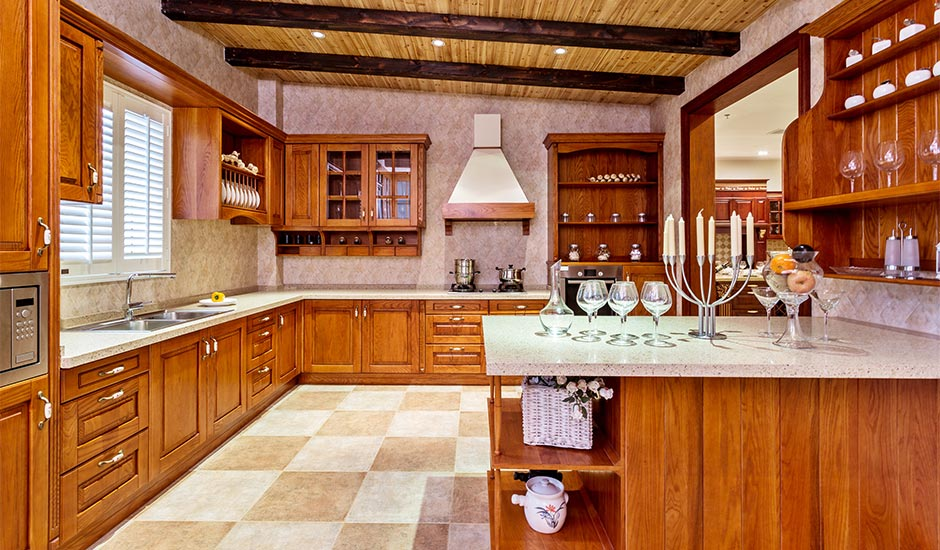 kitchen with checkered marble floors