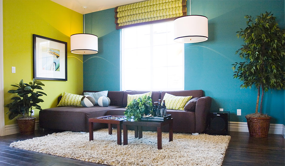 lime and teal painted living room
