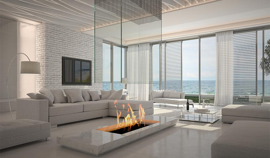 modern beachside living room with fireplace