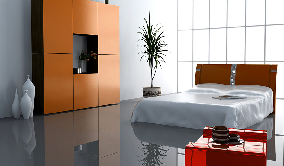 modern bedroom with reflective floor