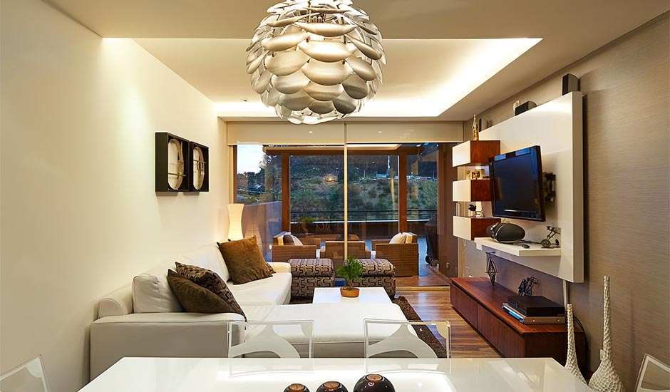 modern dining room with abstract chandelier