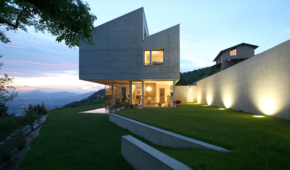 modern home at sunset view