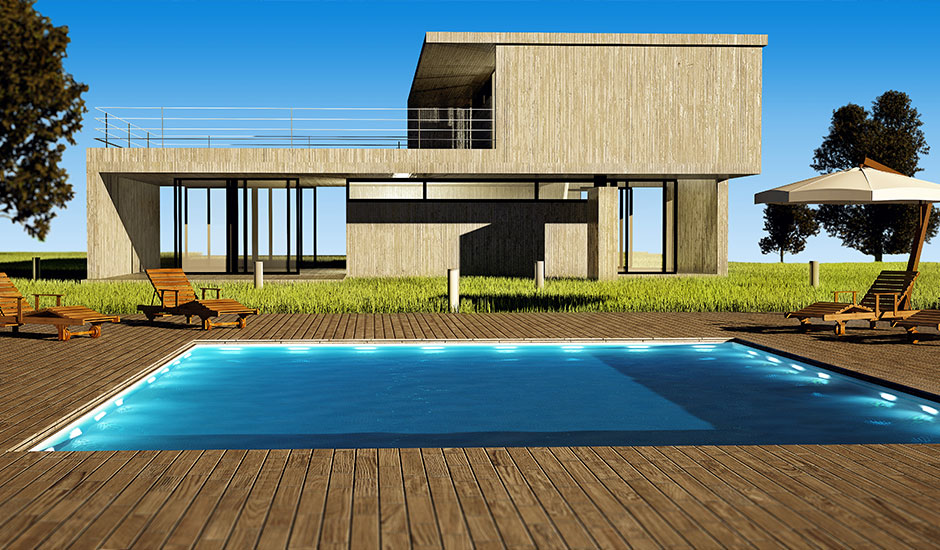 modern house and wood deck pool