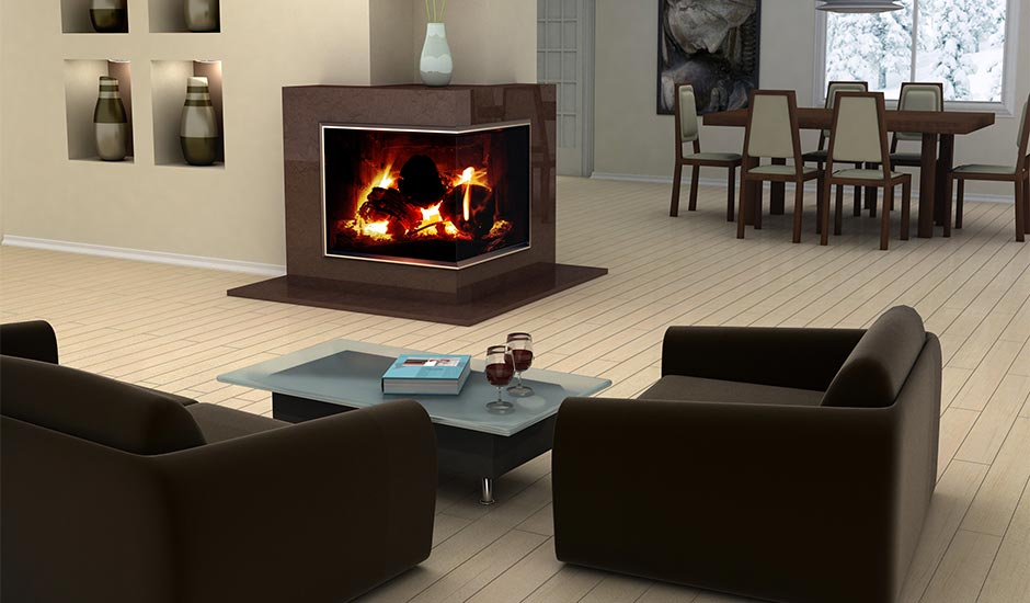 modern living room with corner fireplace
