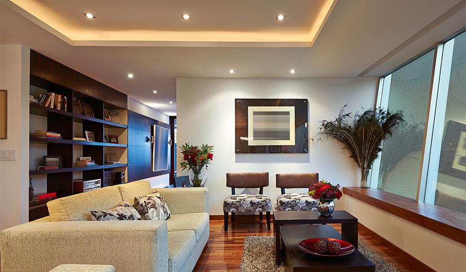 modern living room with spot lights
