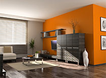 modern living room with orange accent wall