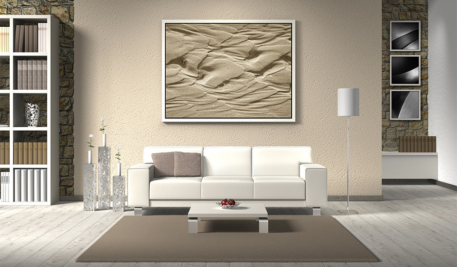living room with sand textured walls