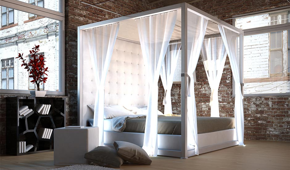 urban brick bedroom with up lighted bed