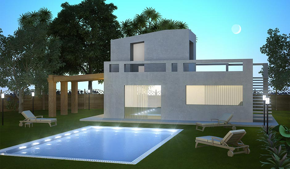 rendering of modern home pool at night