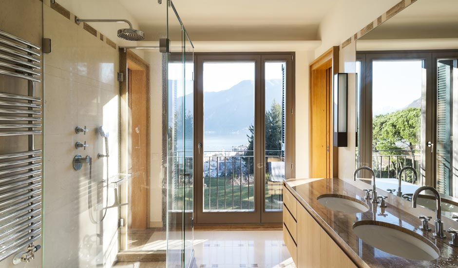 bathroom with glass shower