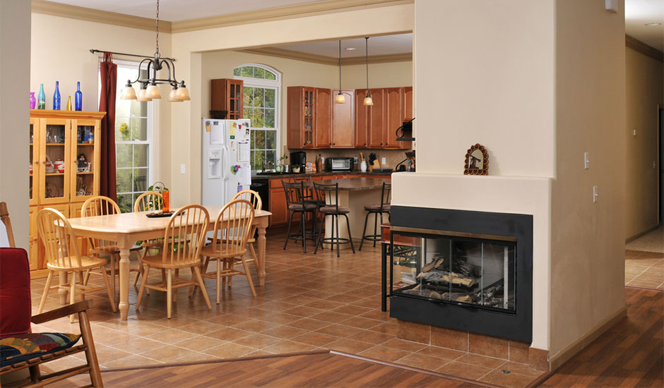 kitchen with corner fireplace