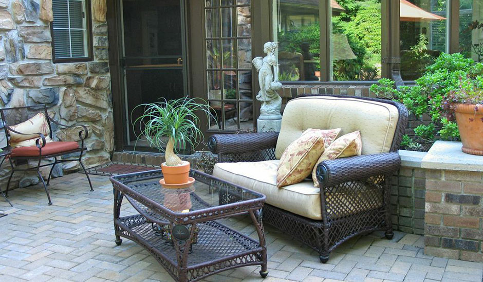 patio with classical backyard furniture
