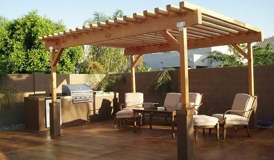 Outdoor living spaces trusted home contractors for Outdoor kitchen pergola ideas