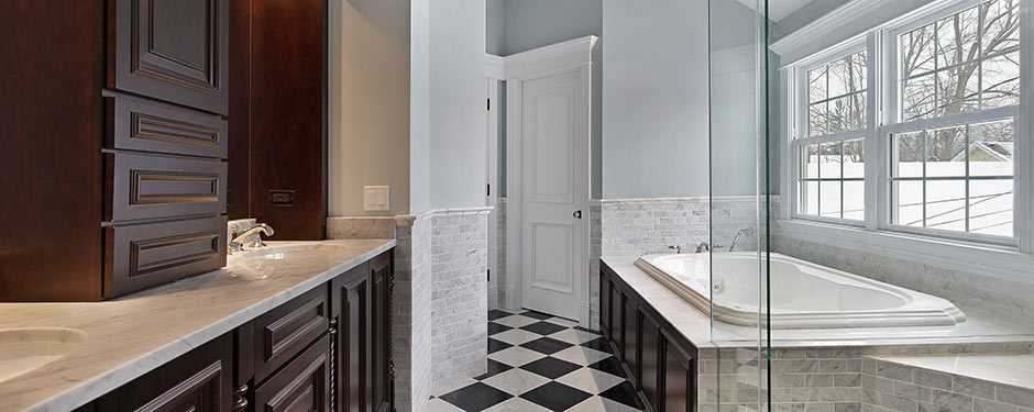 luxury bathroom with checkered floors