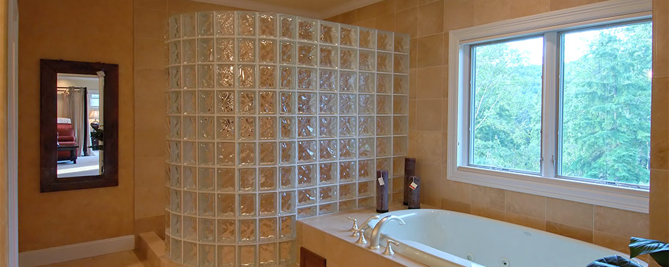 Master bathroom with cube glass shower
