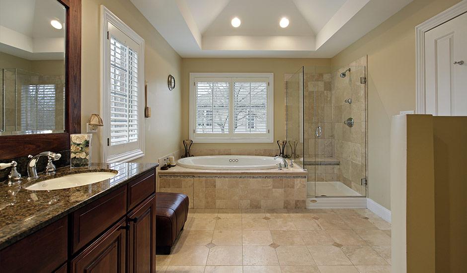 luxury marble bathroom with custom lighting