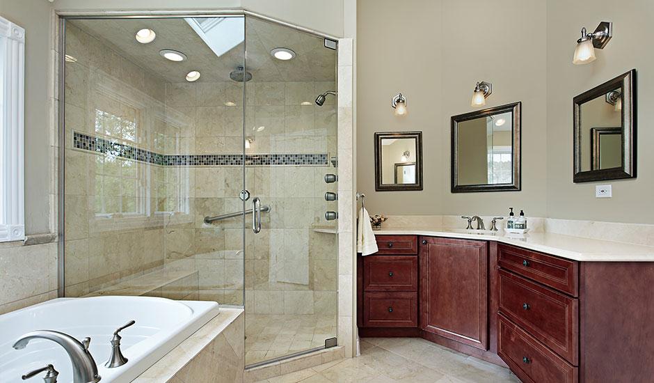 luxury bathroom with walk-in shower