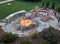 backyard patio with bonfire pit
