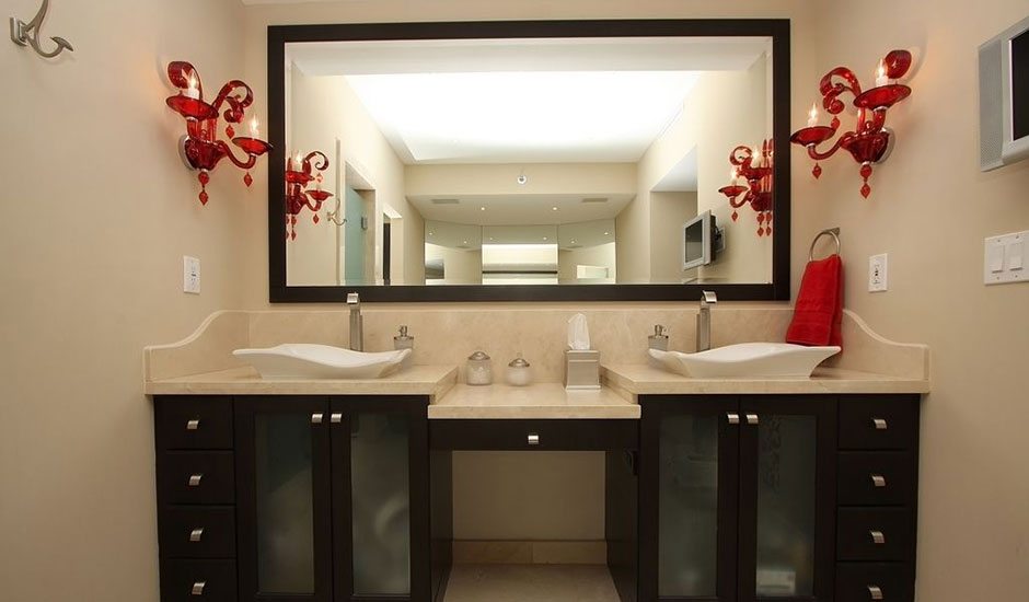 cream and red guest bathroom